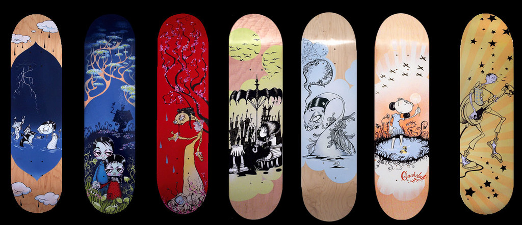 Vinyl pulse hand painted decks by annie owens for Best paint for skateboard decks
