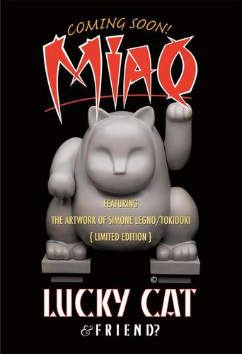 "First show in unpainted proto form at SDCC, the upcoming 7"" Maneki Neko"